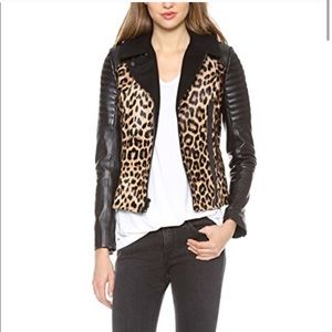 A.L.C leopard Print calf hair Leather Jacket